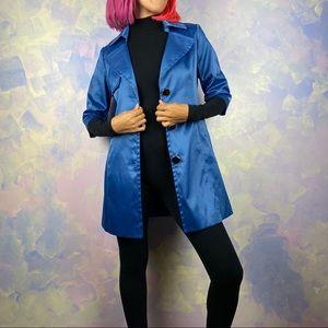 Silk cyan half sleeve coat
